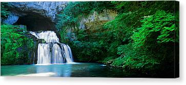 Waterfall In A Forest, Lison River Canvas Print