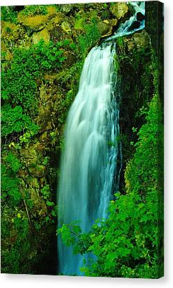 Waterfall In Hood River Oregon Canvas Print by Jeff Swan