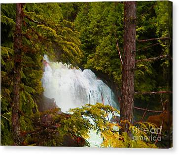 Waterfall In The Forest Canvas Print by John Kreiter