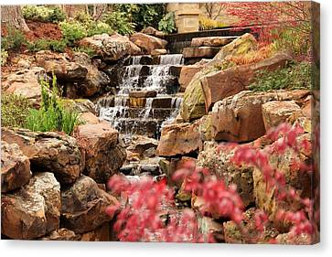 Canvas Print featuring the photograph Waterfall In The Garden by Elizabeth Budd