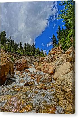 Waterfall In The Rockies Canvas Print by Dan Sproul