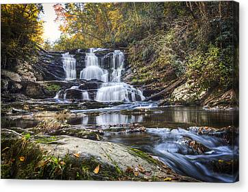 Waterfall In The Smokies Canvas Print by Debra and Dave Vanderlaan