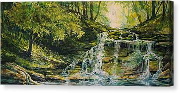 Waterfall In The Woods Canvas Print by Joy Nichols