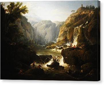 Canvas Print featuring the digital art Waterfall by Joseph Vernet