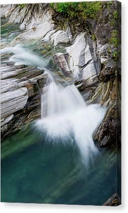 Waterfall, Lavertezzo, Valle Verzasca Canvas Print by Thomas Aichinger