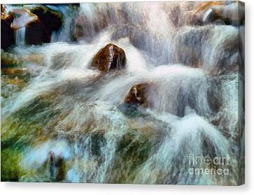 Canvas Print featuring the painting Waterfall Painting by Odon Czintos