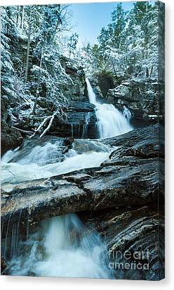 Waterfall - Spring Snow On Kent Falls Canvas Print by JG Coleman