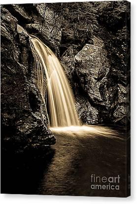 Mansfield Canvas Print - Waterfall Stowe Vermont Sepia Tone by Edward Fielding