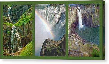 Waterfall Triptych Canvas Print by Steve Ohlsen