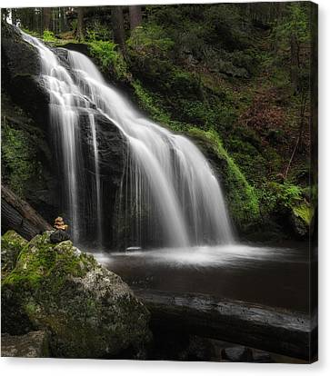 Waterfall Zen Square Canvas Print