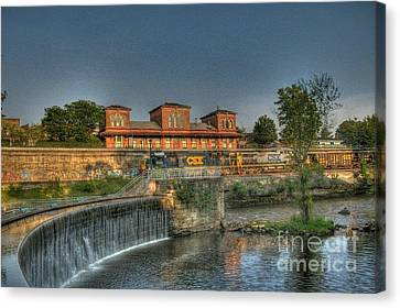 Waterfalls And Train Canvas Print by Jim Lepard