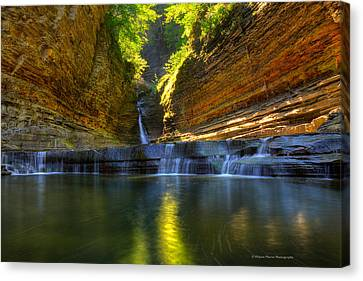 Finger Lakes Canvas Print - Waterfalls At Watkins Glen State Park by Wayne Moran