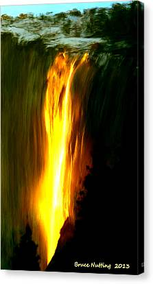 Canvas Print featuring the painting Waterfalls By Light by Bruce Nutting