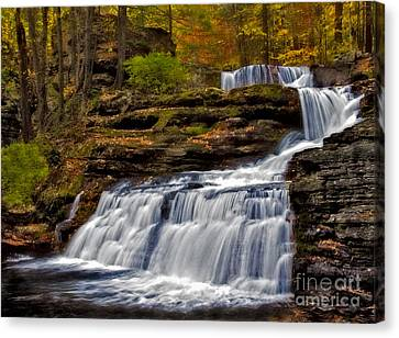 Waterfalls In The Fall Canvas Print by Susan Candelario