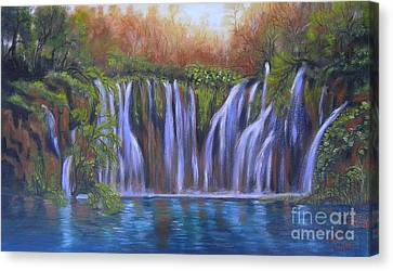 Canvas Print featuring the painting Waterfalls - Plitvice Lakes by Vesna Martinjak