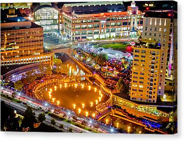 Waterfire Providence-aerial Shot Canvas Print