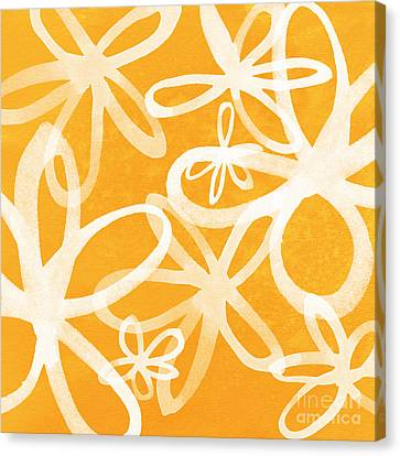 Waterflowers- Orange And White Canvas Print