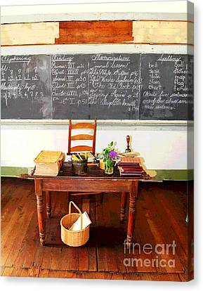 Waterford School Teacher's Desk Canvas Print by Larry Oskin