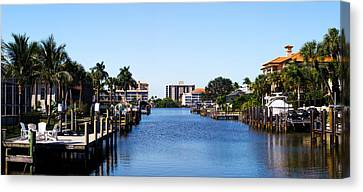 Waterfront Homes In Naples, Florida, Usa Canvas Print