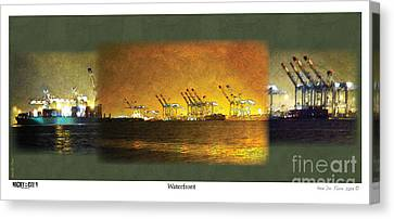 Canvas Print featuring the digital art Waterfront by Kenneth De Tore