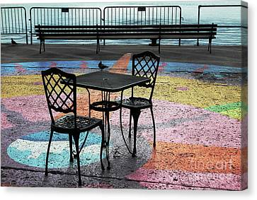 Waterfront Seating Canvas Print by Charline Xia