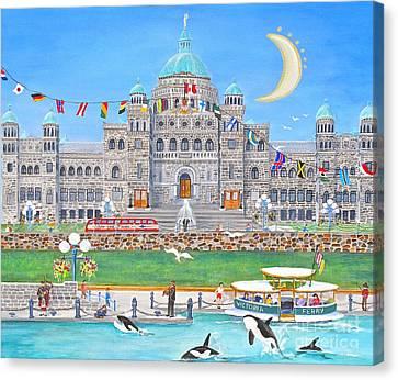 Waterfront Welcome Canvas Print by Virginia Ann Hemingson