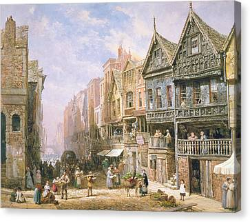Watergate Street Looking Towards Eastgate Chester Canvas Print