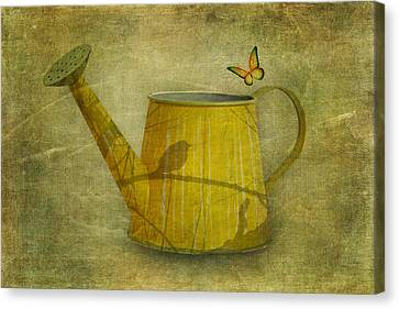Watering Can With Texture Canvas Print by Tom Mc Nemar