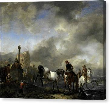 Watering Horses Near A Boundary Marker, Philips Wouwerman Canvas Print by Litz Collection