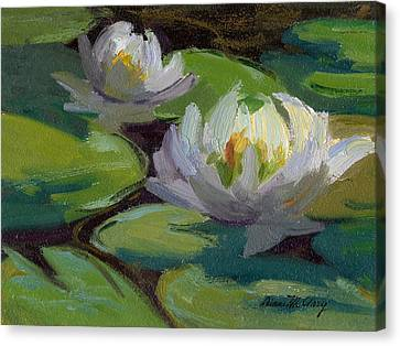 Waterlilies At Martha Lake 1 Canvas Print by Diane McClary