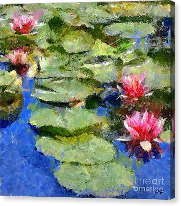 Waterlilies From Giverny Canvas Print by Dragica  Micki Fortuna
