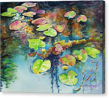 Canvas Print featuring the painting Waterlilies In Shadow by Kathy Braud