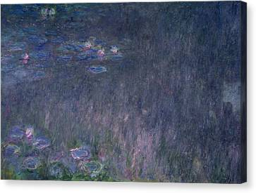 Waterlilies Reflections Of Trees, Detail From The Left Hand Side, 1915-26 Canvas Print