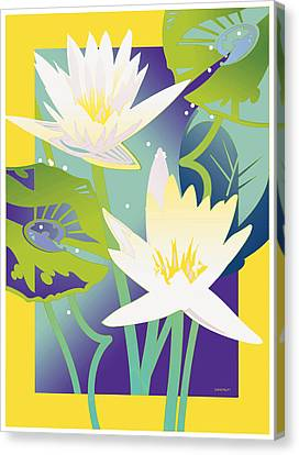 Waterlilies Yellow Border Canvas Print
