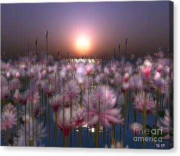 Canvas Print featuring the digital art Waterlillies by Susanne Baumann