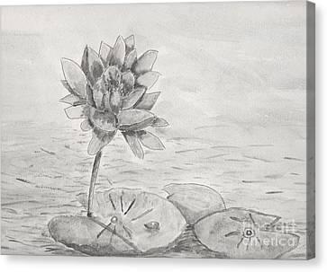 Waterlily Monotone Canvas Print