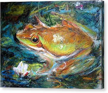 Canvas Print featuring the painting Waterlily And Frog by Jieming Wang