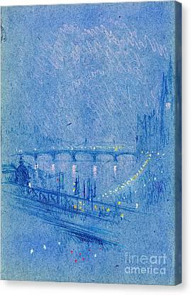 Waterloo Bridge Over Charing Cross Bridge 1901 Canvas Print
