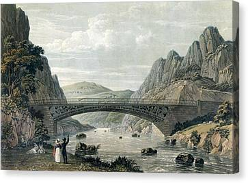 Goat Canvas Print - Waterloo Bridge Over The River Conwy by English School