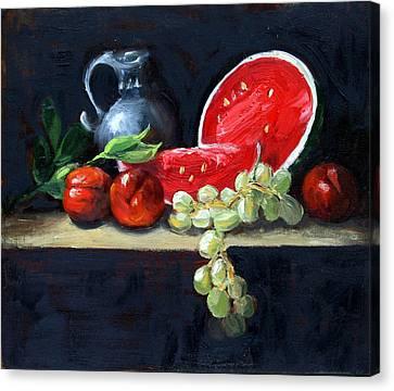 Watermelon And Peaches Canvas Print