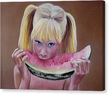 Watermelon Bite Canvas Print by Colleen Gallo