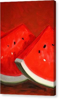 Watermelon Canvas Print by Nancy Merkle