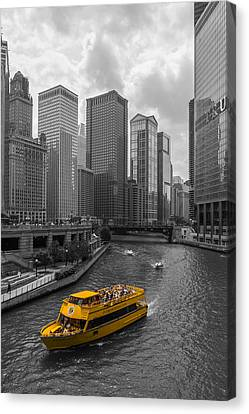 Chicago River Canvas Print - Watertaxi by Clay Townsend