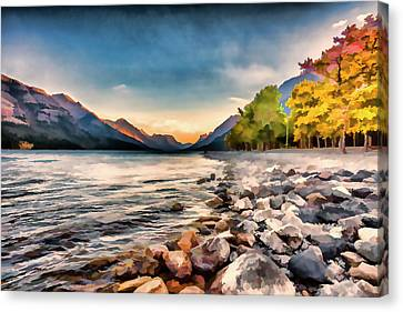 Waterton Lake In Autumn Colours Canvas Print by Ron Harris