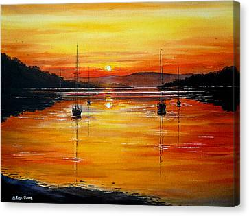Watery Sunset At Bala Lake Canvas Print