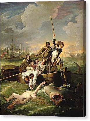 Row Boat Canvas Print - Watson And The Shark by John Copley