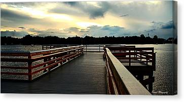 Panama City Beach Canvas Print - Watson Bayou Pier by Debra Forand