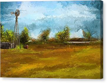 Watson Farm In Rhode Island - Old Windmill And Farming Art Canvas Print by Lourry Legarde