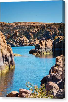 Watson Lake In The Fall Canvas Print by Diane Wood