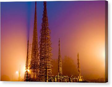 Watts Towers At Night, Watts, Los Canvas Print by Panoramic Images